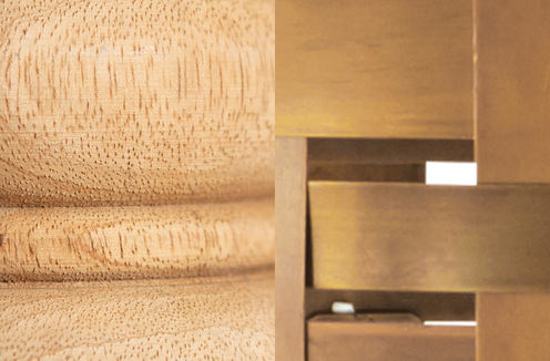 Photo of Light Wood and Patinaed Brass